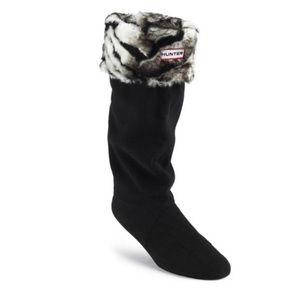 Hunter Tall Boot Sock in Shearling Zebra M/L